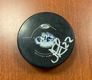 #22 J.F. Jacques Autographed Game Puck - 2012-13
