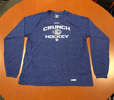 Team-Issued Long Sleeve Workout Shirt - Reebok - Heathered Blue - White AHL Logo