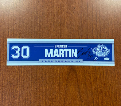 Autographed #30 Spencer Martin Road Nameplate - 2020-21