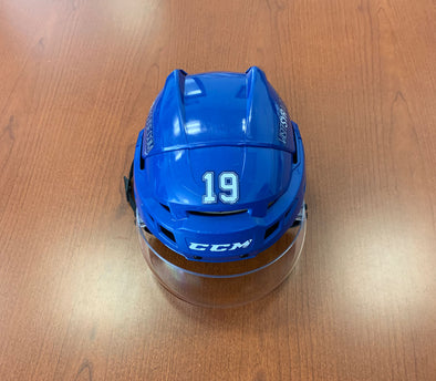 #19 Chris Mueller Game-Used Blue Helmet - 2019-20