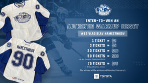 #90 Vladdy Namestnikov Warmup Jersey Raffle and We Develop Champions Tee Bundle