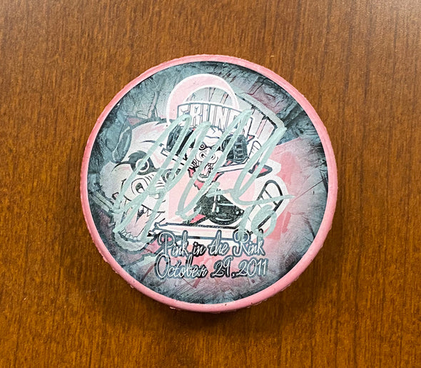 #16 Nicolas Deschamps Autographed Pink in the Rink Souvenir Puck - 2011-12