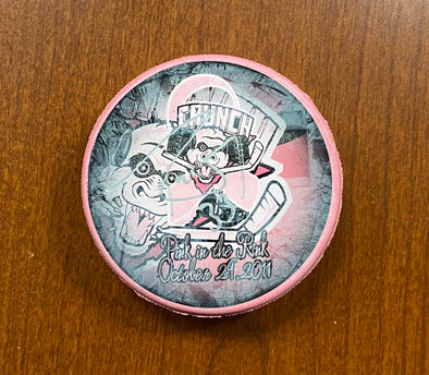 #33 Bryan Rodney Autographed Pink in the Rink Souvenir Puck - 2011-12