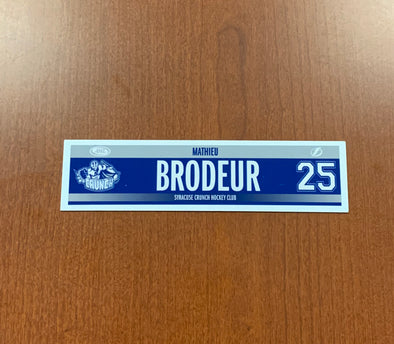 #25 Mathieu Brodeur Road Nameplate - 2016-18