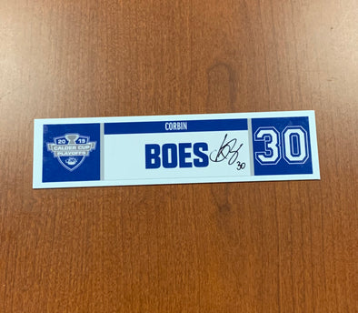 #30 Corbin Boes Home Nameplate - 2019 Calder Cup Playoffs SIGNED