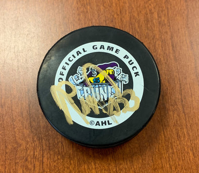#33 Reggie Savage Autographed Game Puck - 1995-96
