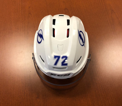 #72 Mikhail Shalagin Game-Used TB Lightning White Helmet - 2019-20
