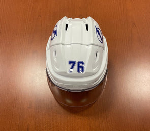 #76 Oleg Sosunov Game-Used TB Lightning White Helmet - 2019-20