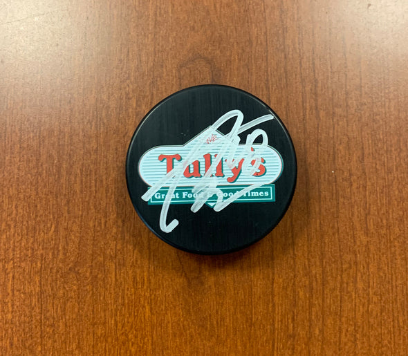 #18 Taylor Raddysh AUTOGRAPHED Tully's Puck - 2019-20