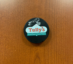 #28 Luke Witkowski AUTOGRAPHED Tully's Puck - 2019-20