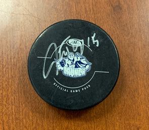 #15 J.T. Wyman Autographed Game Puck - 2012-13