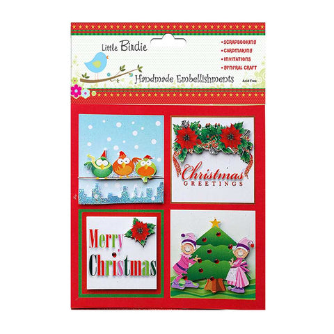 Christmas Toppers with Birds Christmas 4pcs
