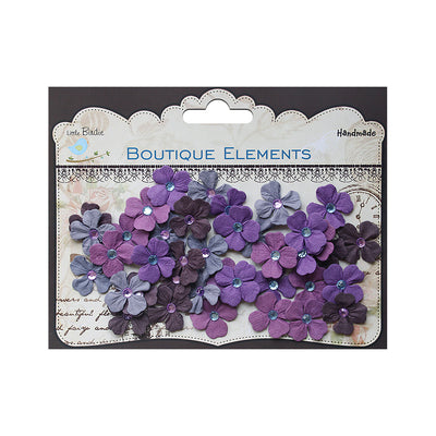 Handmade Flower Jewelled Petals - Plum, 40pcs