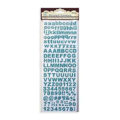 Alpha Glitter Stickers 172pcs Aqua