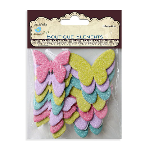 Glitter Foam Butterflies - Assorted Pastel Colors, 14pcs