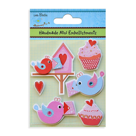 Self adhesive Stickers - Bird House with Cup cakes, 6pcs
