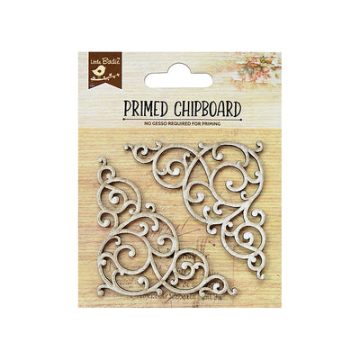 Chipboard Swirl Corners 2pc PBCI Little Birdie