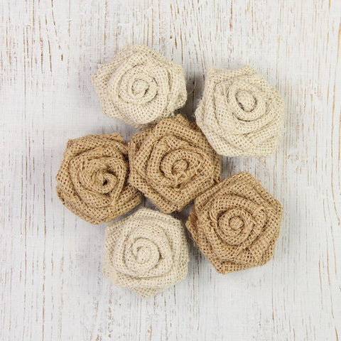 Burlap English Roses Natural 6PC PBCI Little Birdie