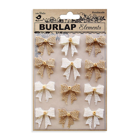 Burlap Beaded Boutique Bows - Natural and Cream, 12pcs