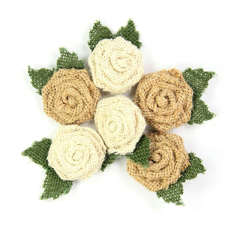 Handmade Burlap Mini Roses with Leaves- Natural, 6pcs