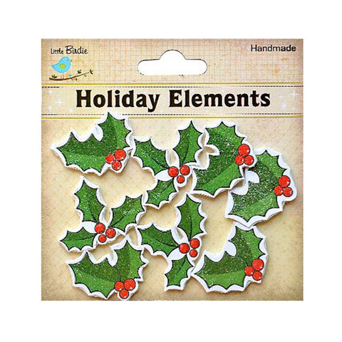 3D Holly & Berry  8pcs