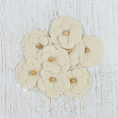 Canvas Pollen Flowers - Natural, 8pcs
