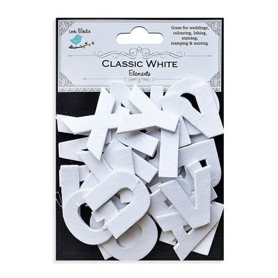 3D Alpha Stickers - Uppercase, Classic White, 26pcs