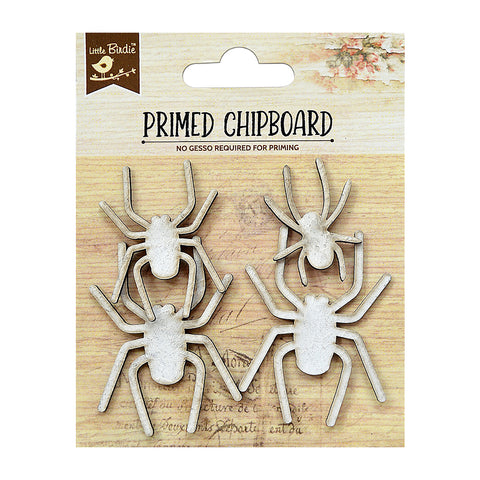 Chipboard Spiders 4PC PBCI Little Birdie