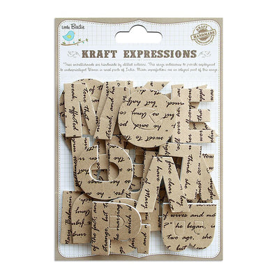 3D Kraft Alphabets Stickers - Uppercase, Script, 26pcs