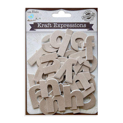 3D Kraft Alphabets Stickers - Lowercase, Plain, 43pcs