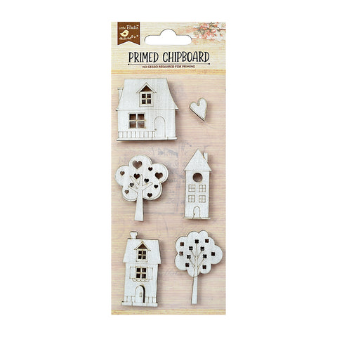Chipboard  House & Tree 6PC Little Birdie
