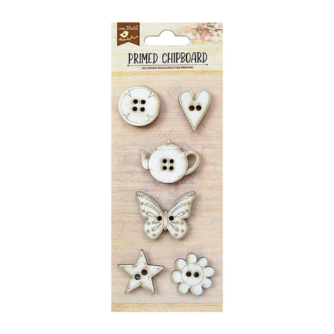 Chipboard Buttons 6PC PBCI little birdie