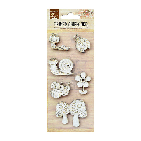 Chipboard Bugs & Flowers 6PC PBCI little birdie