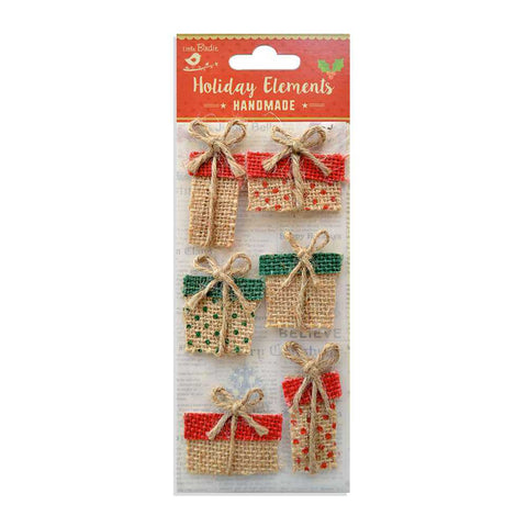 Christmas Burlap Presents, 6pcs