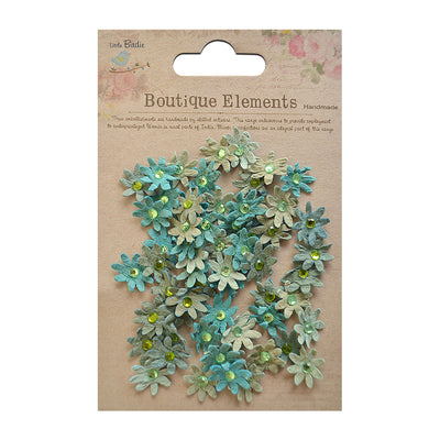 Micro Jewelled Florettes - Rustic Teal, 60pcs