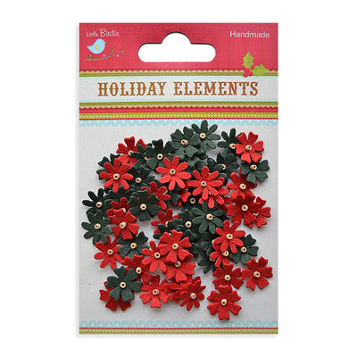 Christmas Beaded Micro Florettes Red & Green  60pcs