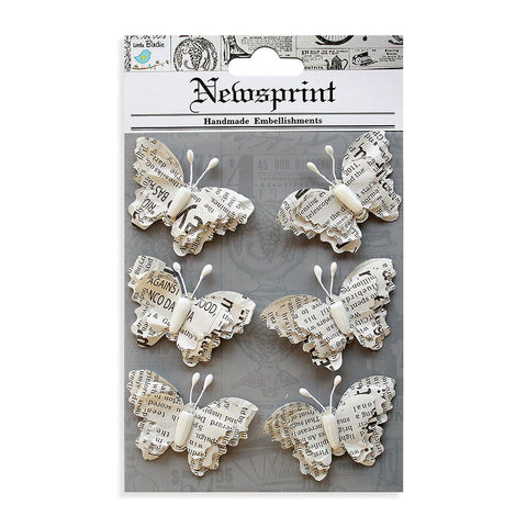 Newsprinted Beaded Butterflies, 6pcs