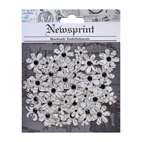 Newsprinted Jewelled Flowers 50pcs