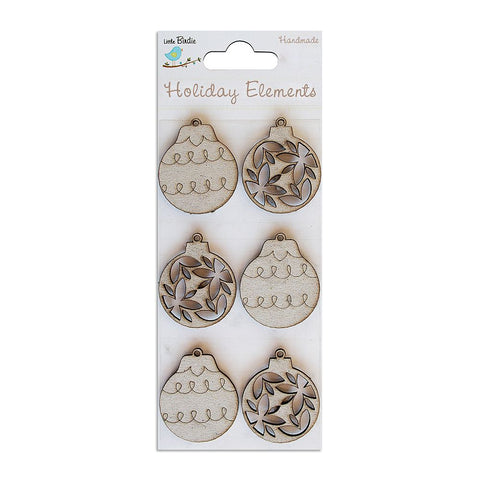 Christmas Chipboard - Bauble, 6pcs