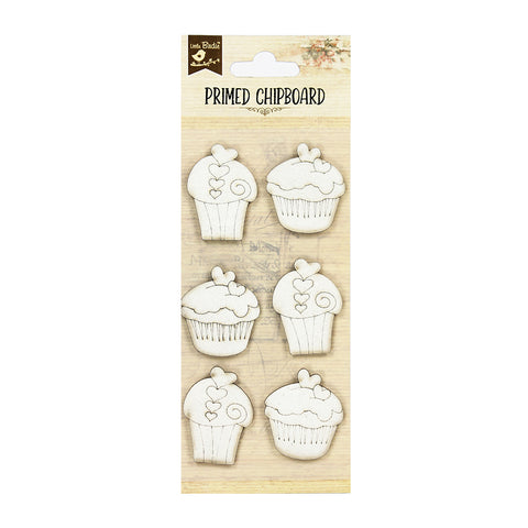 Chipboard Cupcakes with Hearts 6pcs Little Birdie