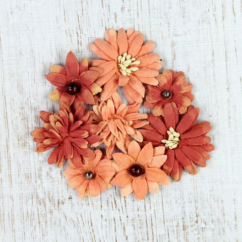 Handmade Flower Teastained Mini Mix - Coral, 8pcs