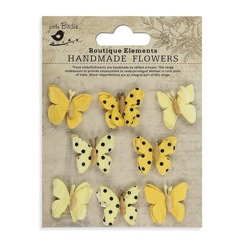 Teastained Mini Butterflies Yellow 8pcs