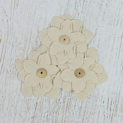 Canvas Star Flowers - Natural, 3pcs