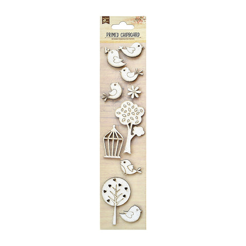 Chipboard Birds, Tree & Cage 10PC PBCI Little Birdie