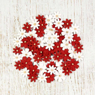 Christmas Beaded Micro Florettes  Red & White 60pcs