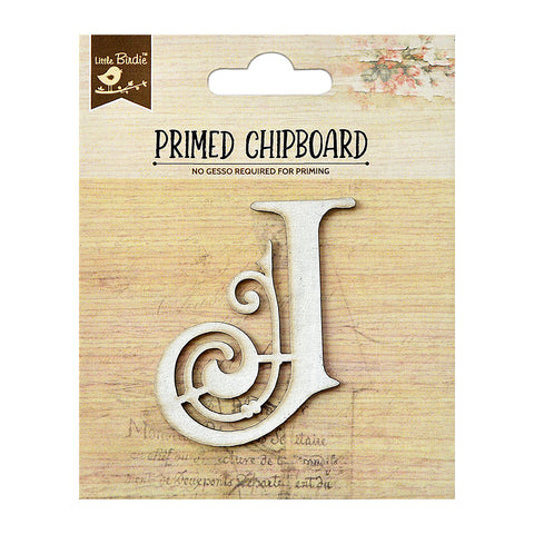 Chipboard Ornate Alpha J 1pc PBCI Little Birdie