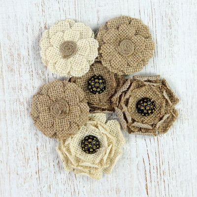 Handmade Burlap Mountain Daisies Natural & Cream, 6pcs