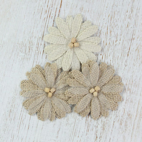 Handmade Burlap Thin Daisies- Natural & Cream, 3pcs
