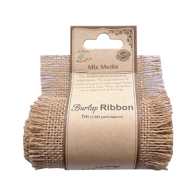 Burlap Ribbon - Natural, 4in x 1mt
