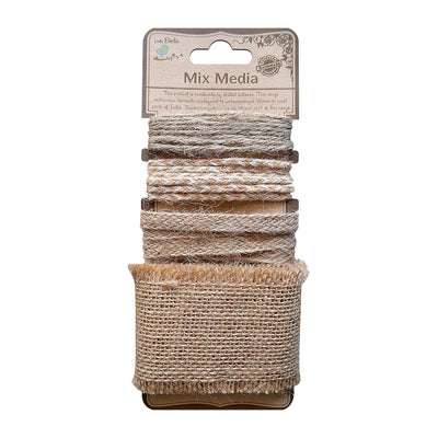 Burlap Trims (Assorted Designs) - Natural, 4mt